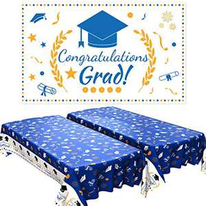 2021 Graduation Party Decorations, Graduation Party Supplies Graduation Party Tablecover 2 Pack and Graduation Party Banner 1 Pack Photo Prop, Graduation Decorations Indoor/Outdoor