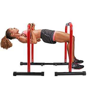 Ridkodg Strength Training Dip Station,Two Adjustable Foot Strap Workout Dip Bar Station Length& Foam Grips,Stable Push Up Stand Arm Trainer