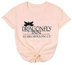 Dragonfly Inn Shirt for Women Gilmore Girls Shirt Inspired Letter Print Top Gilmore Girls Lover Gift Tee Pink