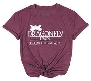 Dragonfly Inn Shirt for Women Gilmore Girls Shirt Inspired Letter Print Top Gilmore Girls Lover Gift Tee Purple