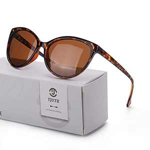 TJUTR Classic Sunglasses for Women Cat Eye Polarized Lens Anti Glare UV Protection (Tortoise Frame/Brown Polarized Lens)