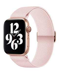 AMANECER Stretchy Nylon Watch Bands Compatible with Apple Watch Series 7/6/5/4/3/2/1 SE, Adjustable Braided Elastic Sport Loop Bands for iWatch Women Men (Pink Sand, 38/40/41MM)