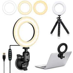 Video Conference Light, 3200k-6500K Dimmable LED Ring Light Mounted on Laptop Computer Monitor for Remote Working, Distance Teaching, Zoom Calls, Self Broadcasting, Live Streaming, YouTube, TikTok