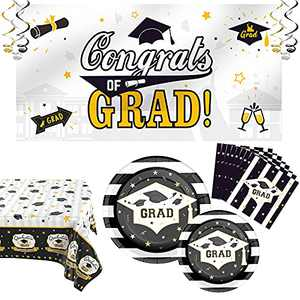 Graduation 2021 Decorations Graduation Party Supplies 2021, Congrats Grad Including Graduation Plates and Napkins 2021, 2 Graduation Tablecloth, 1 Graduation Backdrop 2021, 6 Hanging Swirls