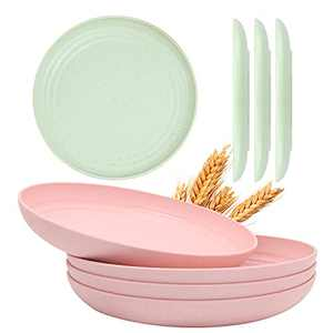 Lightweight Wheat Straw Plates, 4 Pcs 9 Inch & Extra 4 Pcs 6 Inch Degradable Unbreakable Plates, Dishwasher Microwavable Safe Dinner Plate BPA Free,Eco-Friendly Reusable Dish for Kids & Adult…