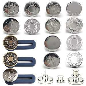 [Upgraded] 12 Set Button Pins for Jeans, Perfect Fit Jean Button Replacement, No-Sew Needed Instant Button with 3 Button Extender Instant Extend or Reduce Any Pants Waist-Silver