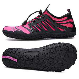 UBFEN Water Shoes Aqua Shoes Swim Shoes Mens Womens Beach Sports Quick Dry Barefoot for Boating Fishing Diving Surfing with Drainage Driving Yoga Size 11 Women / 9.5 Men E Black Pink