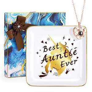 Ceramic Trinket Dish and 100 Languages I Love You Heart Necklace Personalized Gifts for Women Mother's Day Christmas Birthday Gift Ceramic Jewelry Trays Ring Dish & Nechlace for Auntie