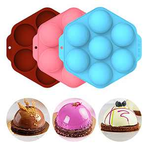 ARDITTO Chocolate Mold - Silicone Molds for Hot Chocolate Bombs, Semi-Sphere Silicone Baking Molds, Half Ball Mold for Cake, Jelly, Dome Mousse, Cocoa Bombs, 2Pcs in 1 Pack, Brown