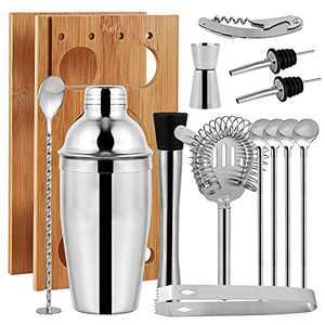 GFANSY 14 PCS Cocktail Shaker Set with Bamboo Stand, Bartender Kit, Bar Bartending Tool Set 24oz Stainless Steel Martini Shaker, Strainer, Jigger, 2 Liquor Pourers for Home