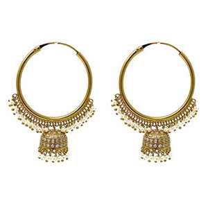 Bollywood Ethnic Indian Pakistani Big Bronze Hoop with Chandelier Dangle Jhumki Earring in Tiny Pearls Cubic Zircon