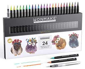 WONMAKE Watercolor Brush Pens, Washable Paint Brush Markers for Art, Calligraphy, Drawing, Greeting Cards, Craft Projects, Posters, Painting, Journal(24-color)
