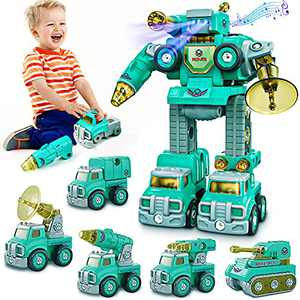 Toys for 4 Year Old Boys, Kids Toys for 3 4 5 6 7 8 Year Old Boys, 5 in 1 Construction Transform Robot Toys Car Take Apart Toys Vehicle Set Birthday Gifts for Kids Boys and Girls