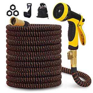 Flexible Water Hose 75 ft Expandable Garden Hose Triple Extention 10 Function Nozzle Genuine Solid Brass 3750D