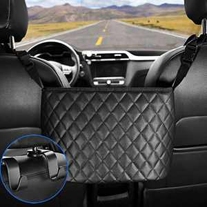 COCASES Handbag Holder for Car, Update Seat Back Organizer Large Capacity Bag, Handbag Pocket Holder Between Two Seats of Car, Items Placed for Bag, Purse, Phone, Documents etc. (Leather)…