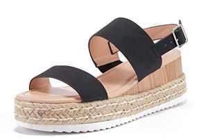Women's Platform Strappy Sandals Low Wedge Heeled Ankle Strap Summer Espadrilles