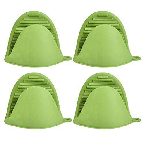 ANMAIKER 4 Pcs Mini Silicone Oven Mitts,Heat Resistant Cooking Mitts for Kitchen Cooking and Baking (Green)