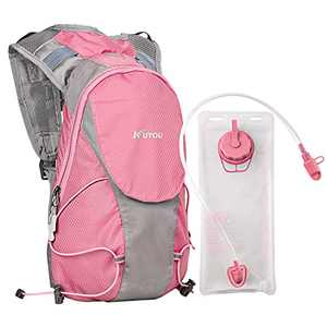 KUYOU Hydration Pack for Kids Hydration Water Backpack with 1.5L Hydration Bladder Lightweight Insulated Water Pack for Festivals Raves Hiking Biking Climbing Running (Pink)