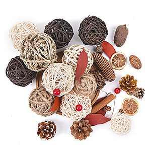 DECOROCA Decorative Rattan Balls - Natural Wicker Assorted Spherical, Pine Cones, Red Berries Orbs Vase Fillers Suitable for Tabletop Decoration