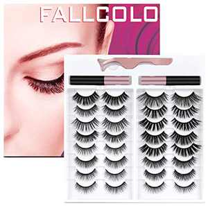 FALLCOLO Magnetic Eyelashes with eyeliner False Eyelashes Reusable Lashes 16 pairs Magnetic Lashes Pack and Eyeliner 3D 6D 8D Natural Look Soft and Comfortable, with Free Eyelash Tweezers
