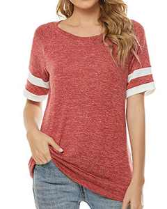 Balivsa Womens Short Sleeve T Shirts Loose Tunic Tops Crewneck Color Block Casual Tee Shirts Blouses Red S