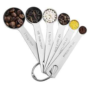 6PCS Measuring Spoons, Food Grade Stainless Steel Tablespoon for Dry and Liquid Ingredients, Kitchen Measuring Tools Set for Cooking & Baking, Fits in Spice Jar