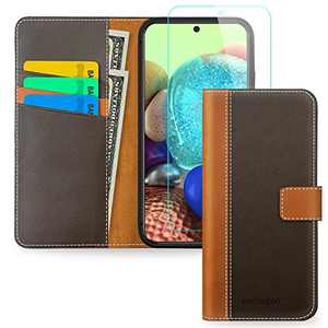 Pinzoveno A71 5G Case Wallet, Flip Phone Cover with Card Holder Wrist Strap and Screen Protector Kickstand PU Leather Folio Funda Cases for Samsung Galaxy A71 5G - Brown