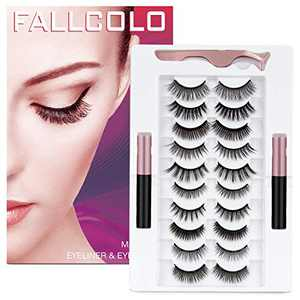 FALLCOLO Magnetic Eyelashes with eyeliner False Eyelashes Reusable Lashes 10 pairs Magnetic Lashes Pack and Eyeliner 3D 6D 8D Natural Look Soft and Comfortable, with Free Eyelash Tweezers