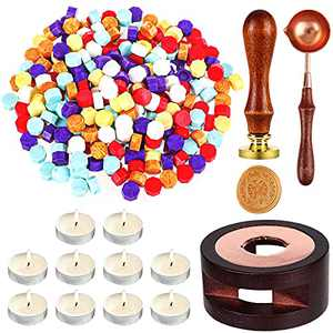Wax Seal Stamp Kit, Tufusiur Wax Seal Beads, Wax Stamp Set, Sealing Wax Warmer, A Wax Spoon and 10Pcs Tea Candles for Sealing Envelopes, Letters, Crafts, Scrapbooking, Decoration