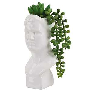 7 Inch Artificial Succulent with David Bust Sculpture Planter Pot, Mini Artificial Plants in Portrait Statue for Adornment