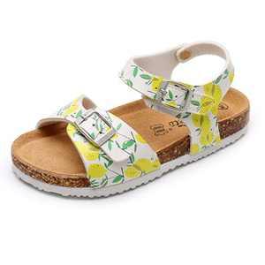AOBETU Kids Girl's Strap Sandals - Open Toe Adjustable Suede Cork Footbed Sandals for Summer (Little Kid/Big Kid)