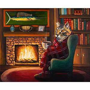 Rayocon Jigsaw Puzzles 1000 Pieces for Adults-Square Cool Cat by The Fire Puzzle DIY Interesting Large Puzzle Challenging Game Toys Gift for Kids Teens Famaily Puzzles (Cat by The fire)