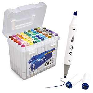 60 Colors Dual Tip Alcohol Based Art Markers for Adults Drawing, Coloring and Illustration, Ideal Gift for Kids, Beginners Brush & Chisel Sketch Marker, PT161-60