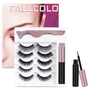FALLCOLO Magnetic Eyelashes with eyeliner False Eyelashes Reusable Lashes 5 pairs Magnetic Lashes Pack and Eyeliner 3D 6D 8D Natural Look Soft and Comfortable, with Free Eyelash Tweezers
