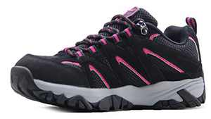 BomKinta Women's Breathable Hiking Shoes Comfortable Anti-Slip Walking Shoes Outdoor Sneakers for Women Black Rose Size 9.5
