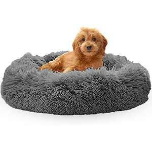 OYANTEN Cat Bed for Indoor Cats, Dog Bed for Small Dogs, Round Calming Donut Pet Beds for Cats, Soft Fluffy Warm and Cozy to Improved Sleep, Machine Washable(24in, Space Gray)