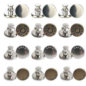 Jean Button Pins, 12 PCS Jean Button Replacement, Adjustable Button Pins, Button Clips for Fashion Jeans Pants Sewing Crafts DIY, Metal Button Adds Or Reduces Waist in Seconds
