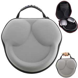 PU Leather Case for AirPods Max Headphones, Protective Hard Shell Travel Carrying Bag Cover Storage Box with Extra Mesh Pocket for AirPod Max Charging Cable and Accessories Women Men Gray
