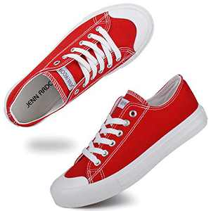 JENN ARDOR Women's Canvas Sneakers Classic Low Cut Lace-Up Casual Shoes Fashion Comfortable Walking Flats Red