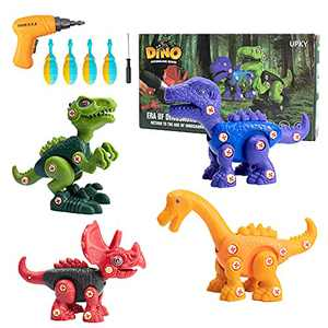 Take Apart Dinosaur Toys for Kids, 4 Pack Dino Building Kit with Electric Screwdrivers, DIY Construction STEM Educational Engineering Set Educational Toy, Great Gift for Boys Girls Ages 3 4 5 6 7