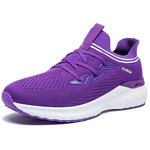 KUBUA Women's Walking Shoes Sock Sneakers Mesh Slip on Running Shoes for Lady Girls's Lightweiht Tennis Shoes Purple