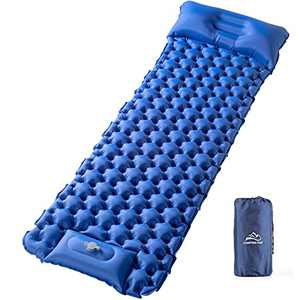 Elegear Camping Air Mattress with Pillow, Ultralight Self Inflating Backpack Sleeping Pad Built-in Foot Pump, Lightweight Compact Tent Sleeping Mats for Hiking Tent Traveling Road Trip -Single