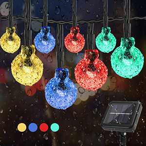 Solar String Lights Outdoor 100 Led 39.4 ft Crystal Globe Lights with 8 Lighting Modes, Waterproof Solar Powered Patio Lights for Garden Yard Porch Wedding Party Decor