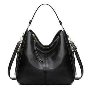 Hobo Bags For Women Purses and Handbags Ladies Shoulder Bags Girls Large Brand Totes Faux Leather Bag (Black)