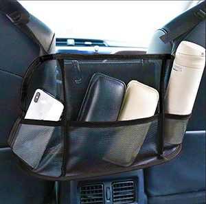 Car Net Pocket Handbag Holder,Car Mesh Organizer Between Seats Upgraded Large Storage Bag for Car
