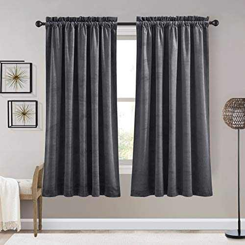 RYB HOME Velvet Curtains 63 inches Long - Super Soft Room Darkening Thermal Insulating Window Drapes for Bedroom Living Room Dining Backdrop, W 52 x L 63 inch, Grey, 2 Panels