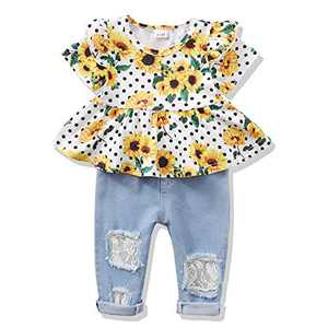 2T Girls Clothes 3T Girl Outfit Floral Shirt Denim Jeans Pants Set Toddler Girl Clothes 2T 3T Summer Yellow