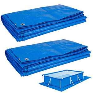 2 Pack Multi-Purpose Rectangular Pool Ground Cloths- 6.5 x9.8 Feet Waterproof PE Swimming Pool Tarpaulin with Metal Grommets Heavy Duty Sun-proof Tarp for Above Ground Pool Car Boat Camper (Blue)