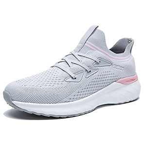 KUBUA Women's Walking Shoes Sock Sneakers Mesh Slip on Running Shoes for Lady Girls's Lightweiht Tennis Shoes Grey