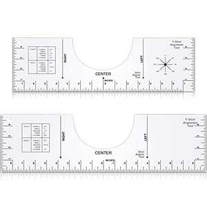 2 Pieces T-Shirt Ruler Guide Tool T-Shirt Alignment Tool T-Shirt Centering Tool T-Shirt Crew Neck Placement Graphic Guide Clear Shirt Guide Ruler for Apply HTV Vinyl Sublimation Design (Large, Medium)